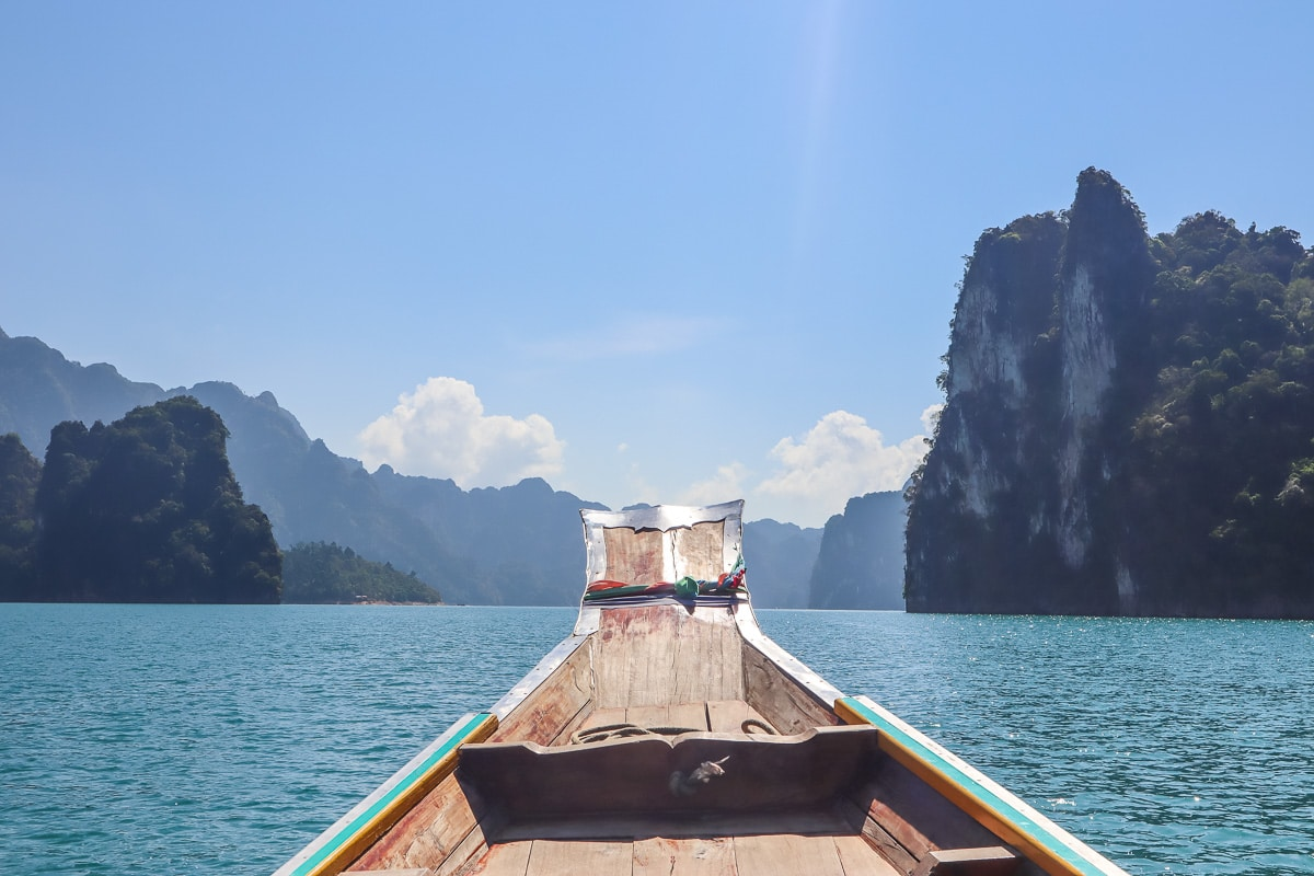 Boat trip across Cheow Lan Lake, Khao Sok National Park, Thailand