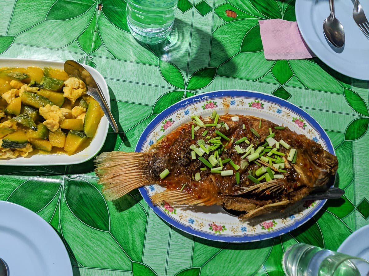 Fresh fish for dinner in Khao Sok National Park