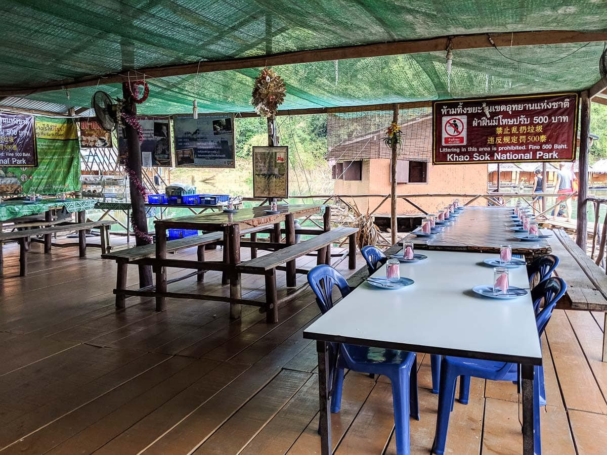 Restaurant area at our floating bungalows, Khao Sok