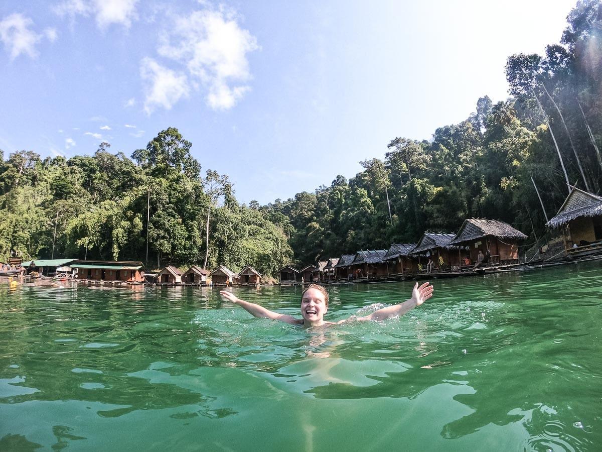 Swimming in Cheow Lan Lake, Khao Sok