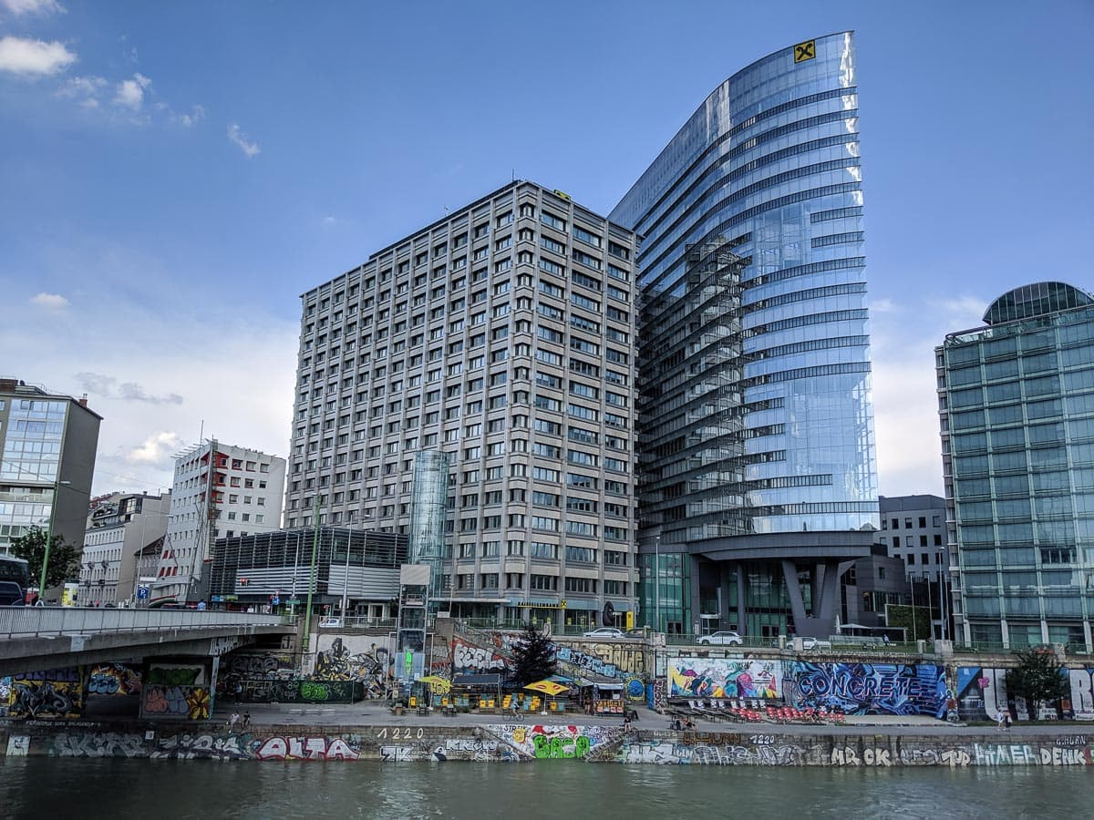 Interesting buildings and street art along the Danube Canal, Vienna