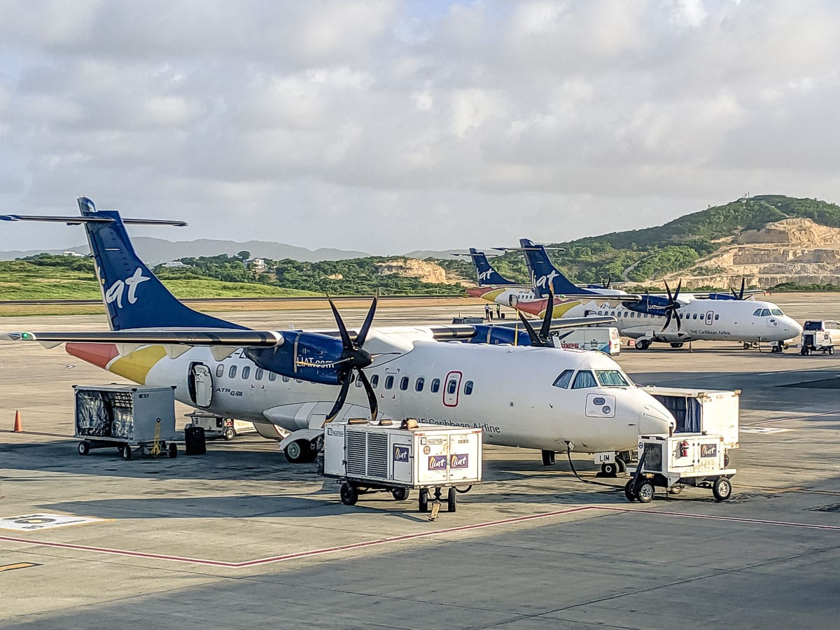 LIAT plane at Douglas–Charles Airport, Dominica