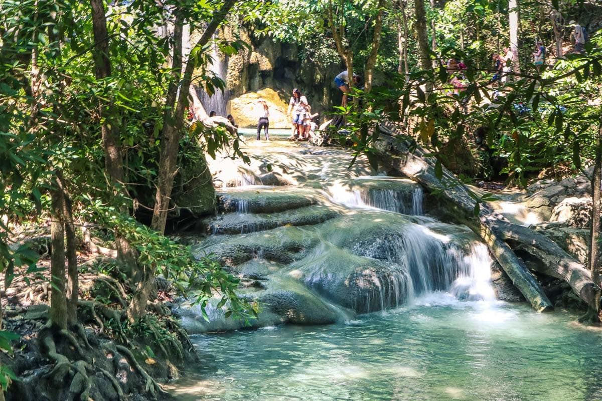 Beautiful cascades at Erawan Waterfalls, Thailand