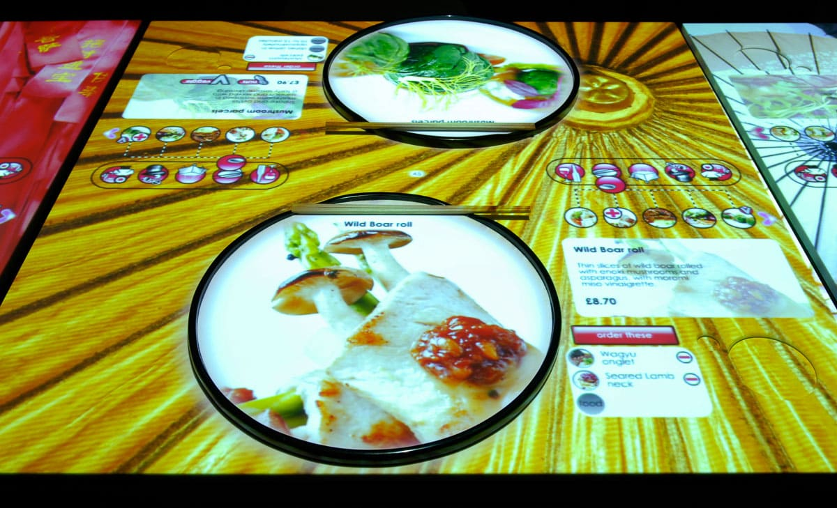 Interactive tables at Inamo London