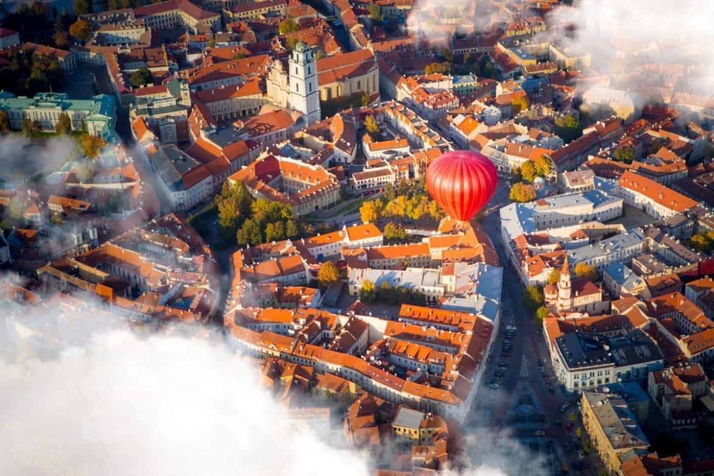 Hot air balloon in Vilnius, Lithuania