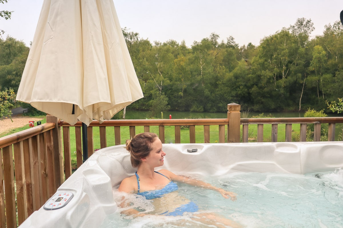 Hot tub at our luxury loge at Warmwell Holiday Park, Dorset