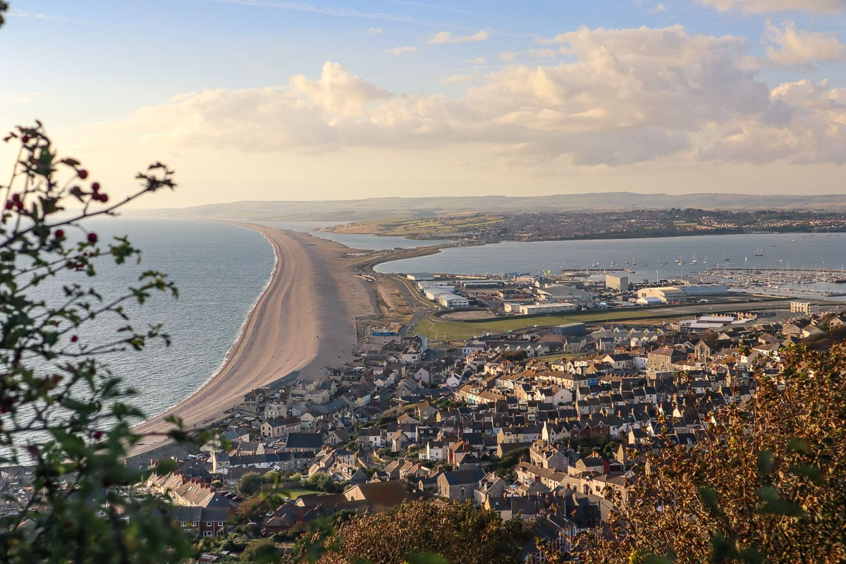 View over Chesil Beach from Portland