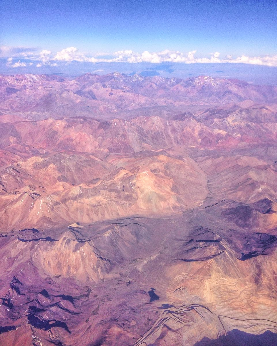 Flying over Chile's Andes Mountains