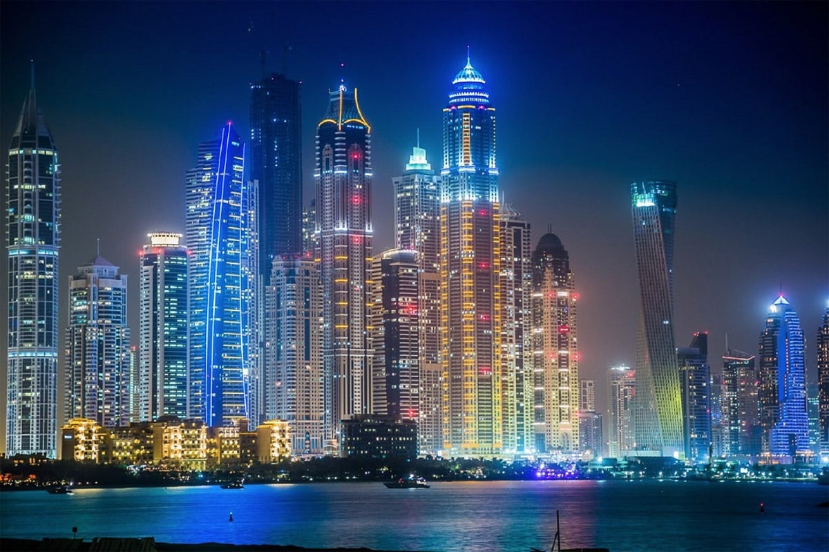 The famous Dubai skyline at night