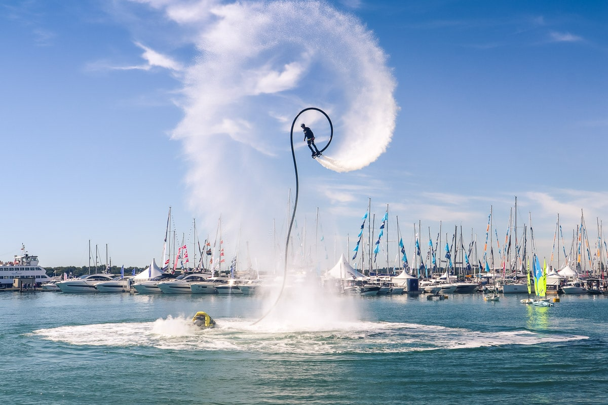 Impressive flyboarding demo at the Southampton International Boat Show