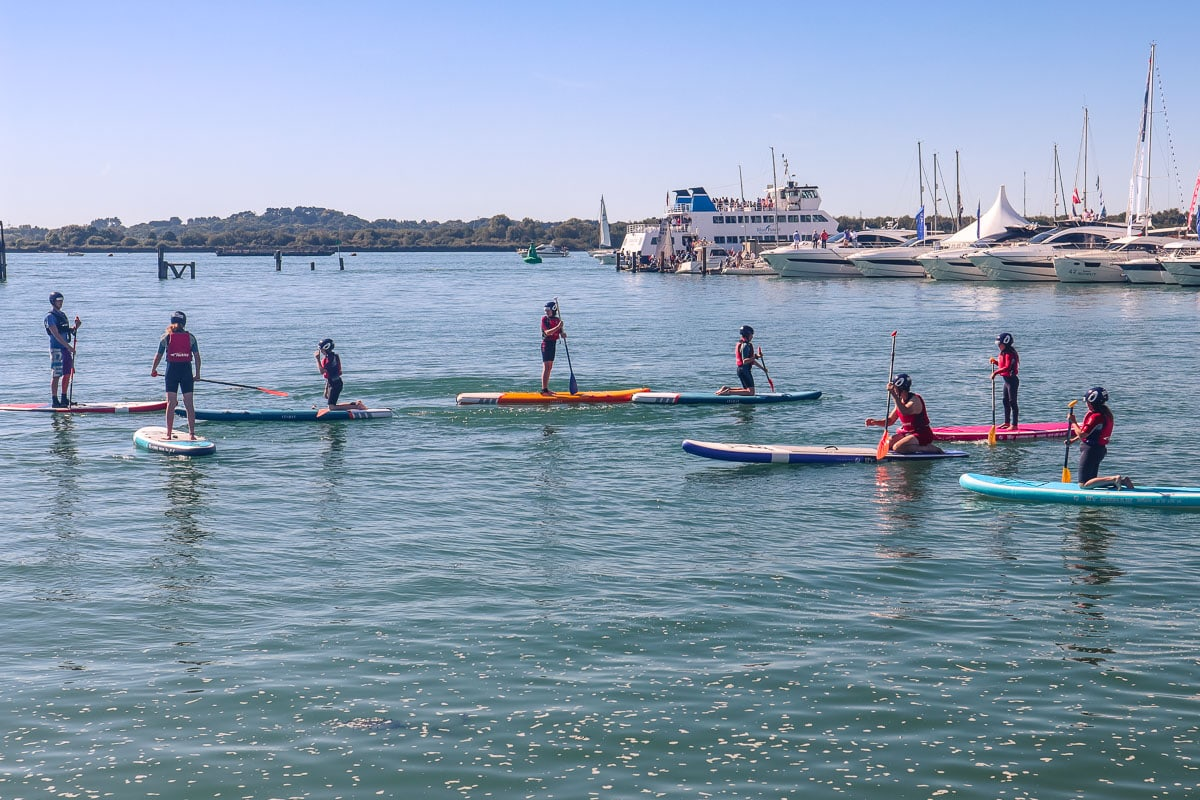 Trying paddle boarding at the Southampton International Boat Show