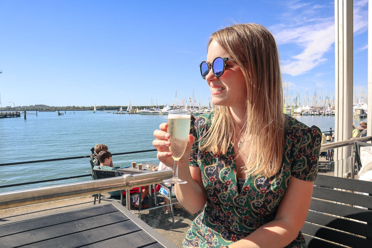 Sipping champagne at the Southampton International Boat Show