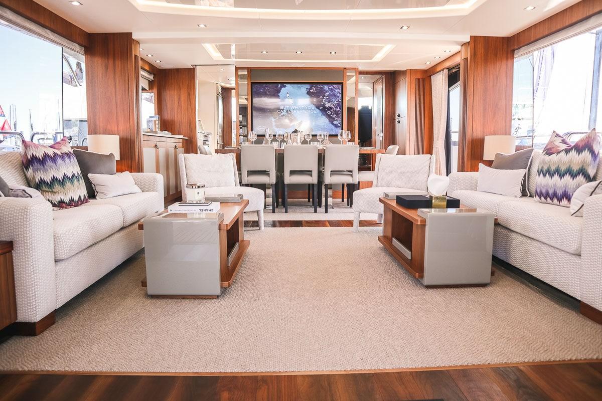 Interior of the Sunseeker 86 yacht