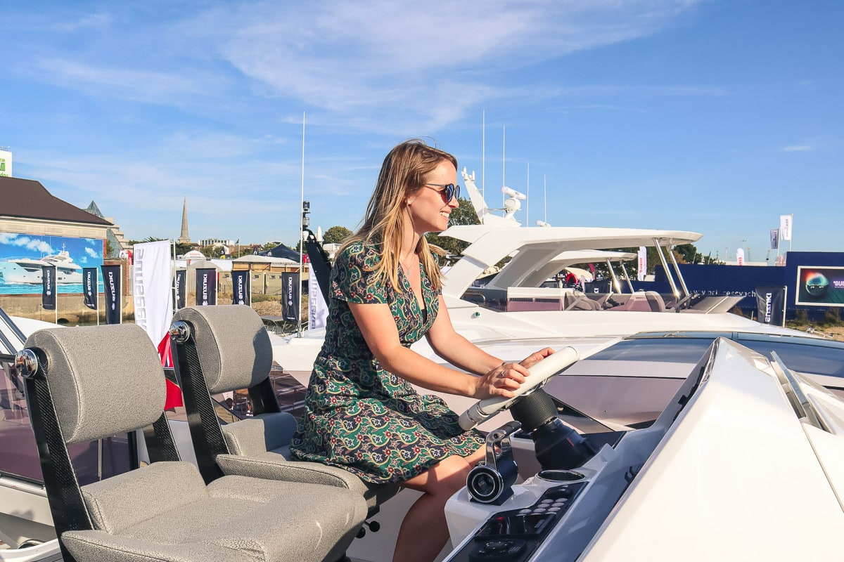 Getting behind the wheel on a Sunseeker super yacht
