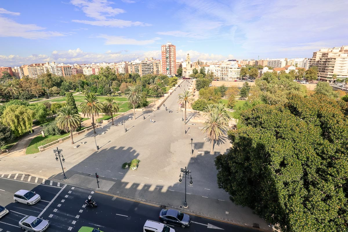 View of Turia Gardens from the top of Torres de Serranos, Valencia