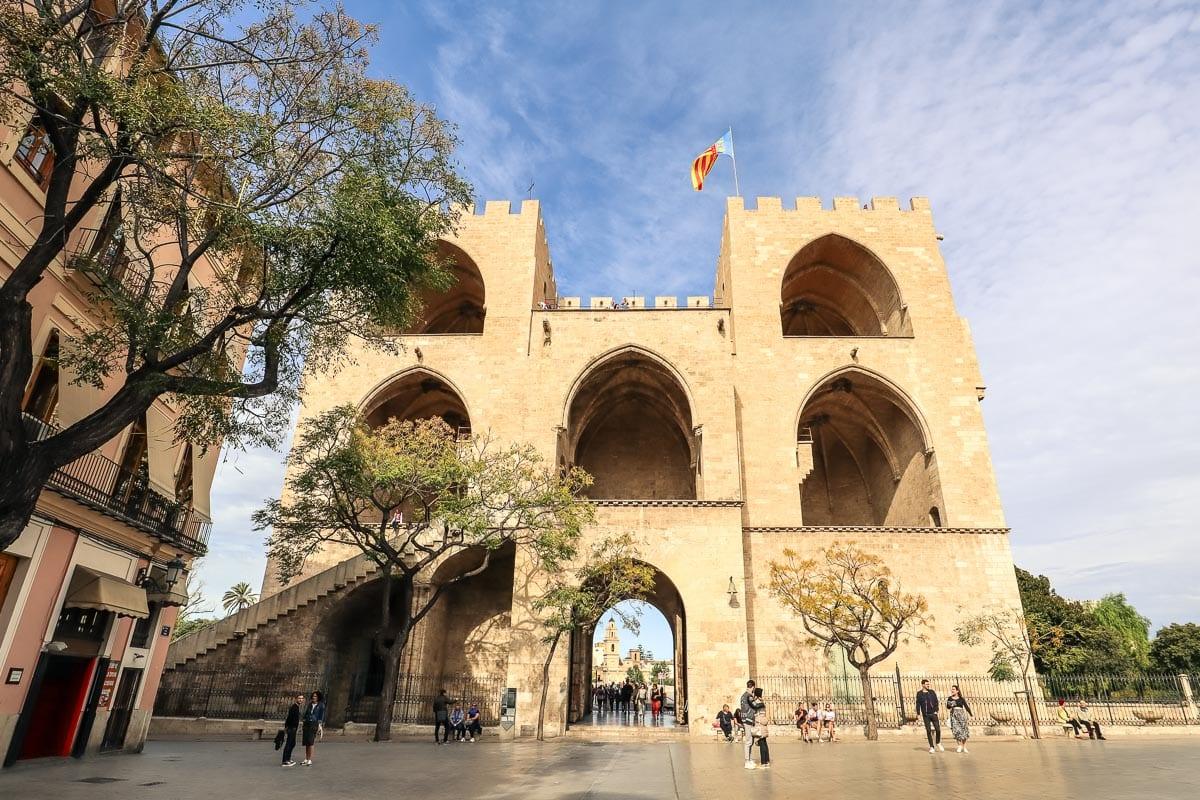 Exterior of Torres de Serranos, Valencia