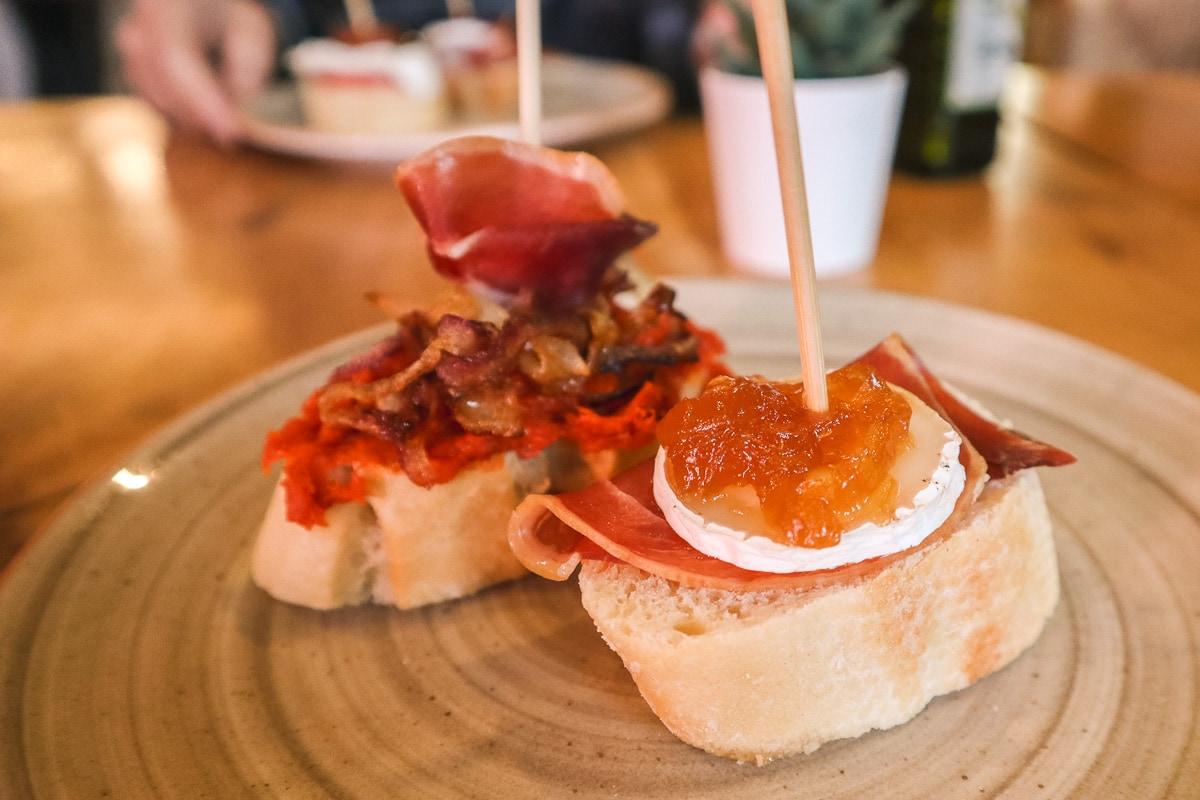 I chose these two tasty pintxos on our food tour of Valencia