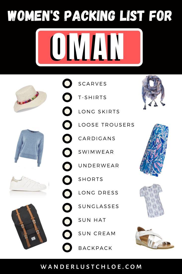 Women's packing list for Oman