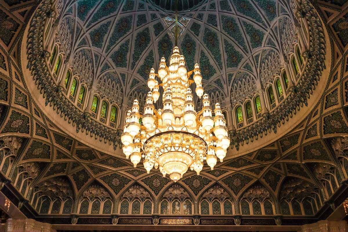 Chandelier in Sultan Qaboos Grand Mosque in Muscat