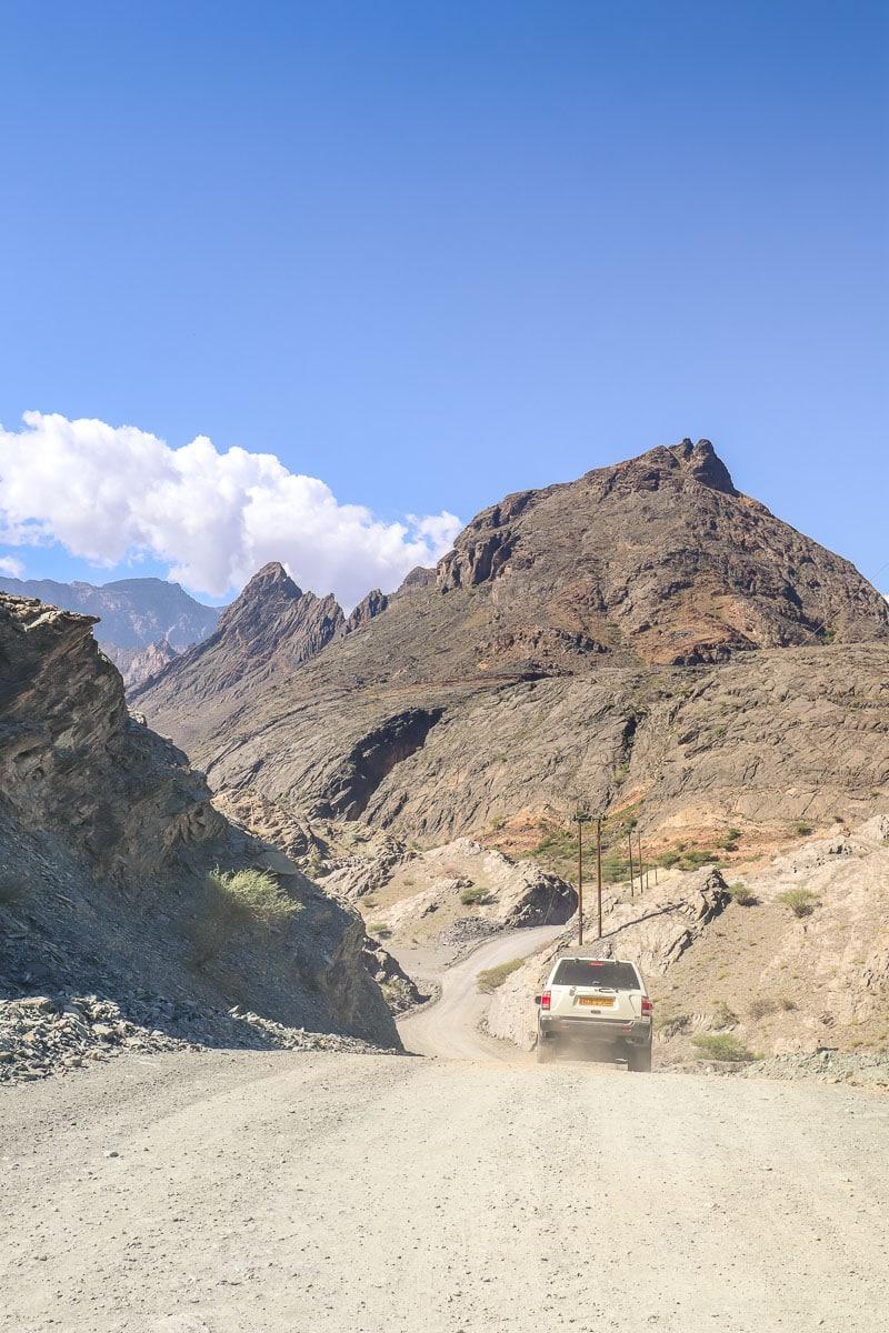 Driving through Wadi Bani Awf in Oman