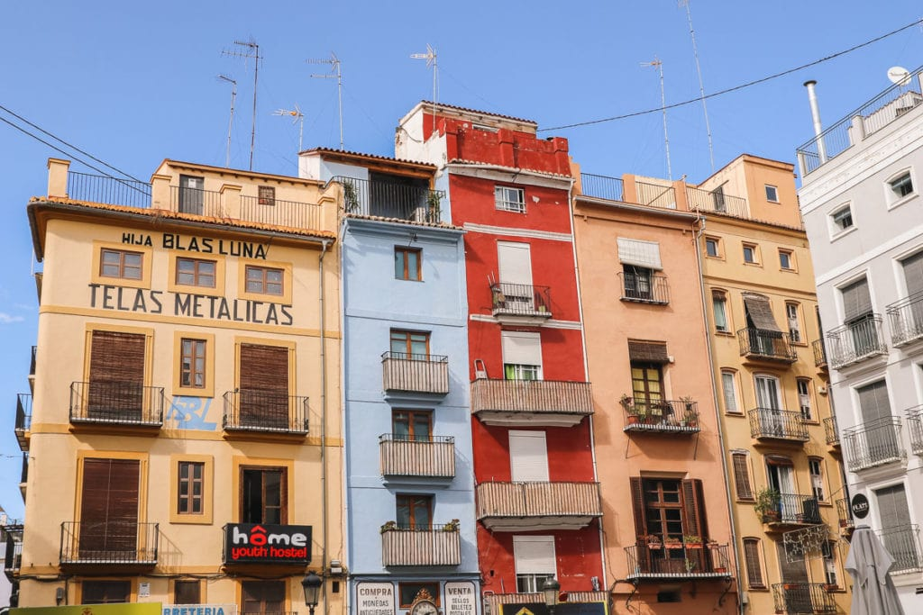 Colourful buildings in Valencia