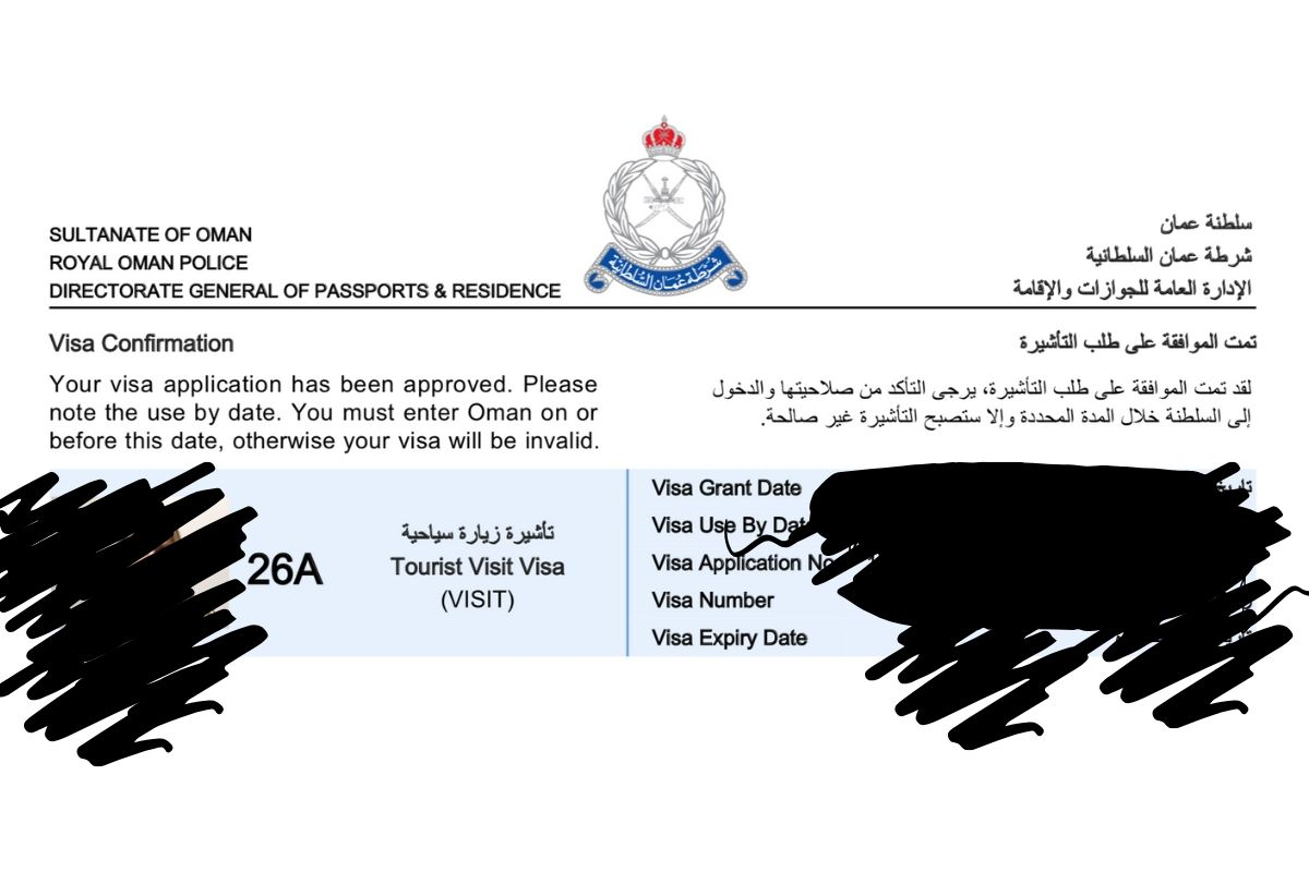Oman Tourist Visa 26A