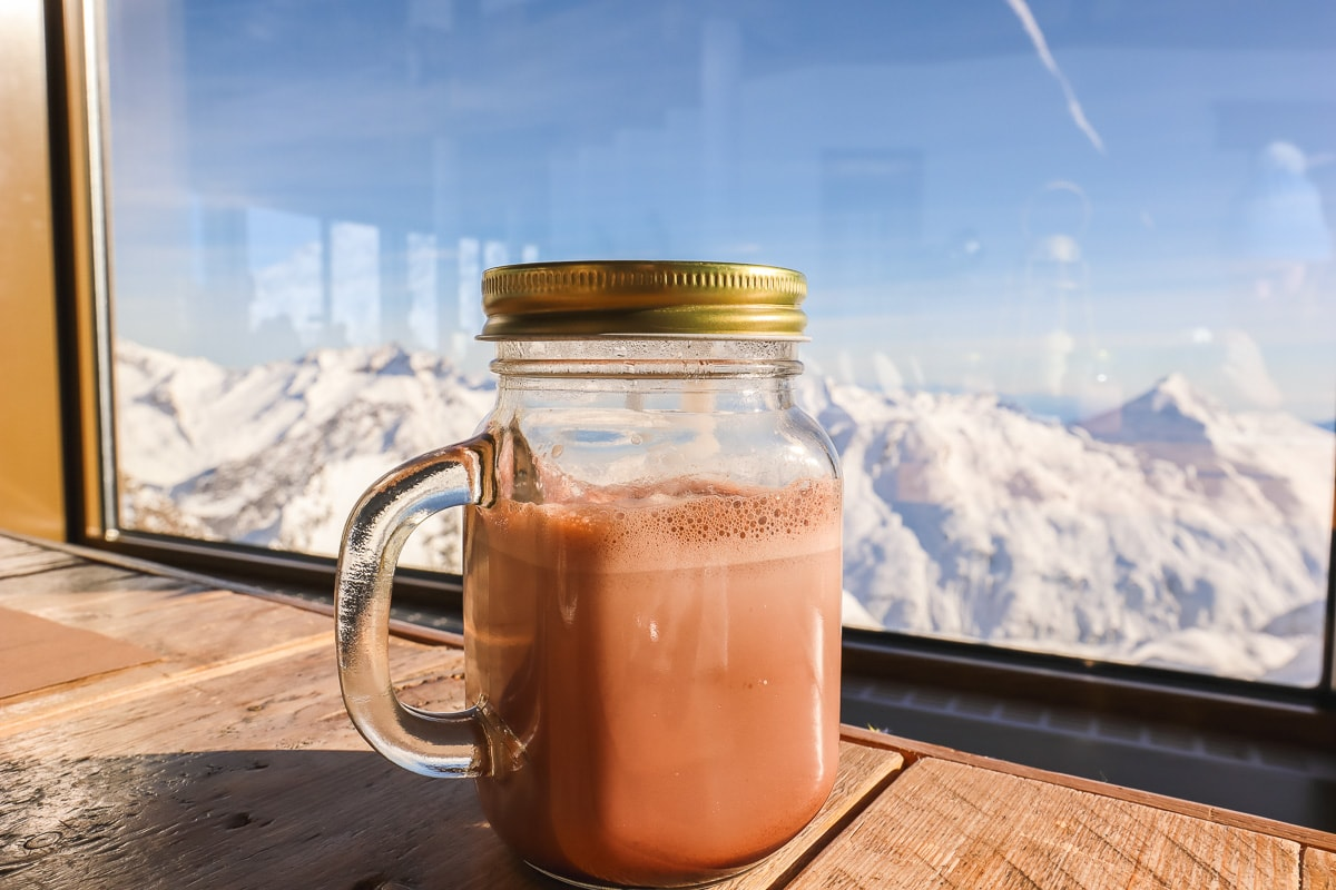 Hot chocolate at Allalin Restaurant, Saas-Fee
