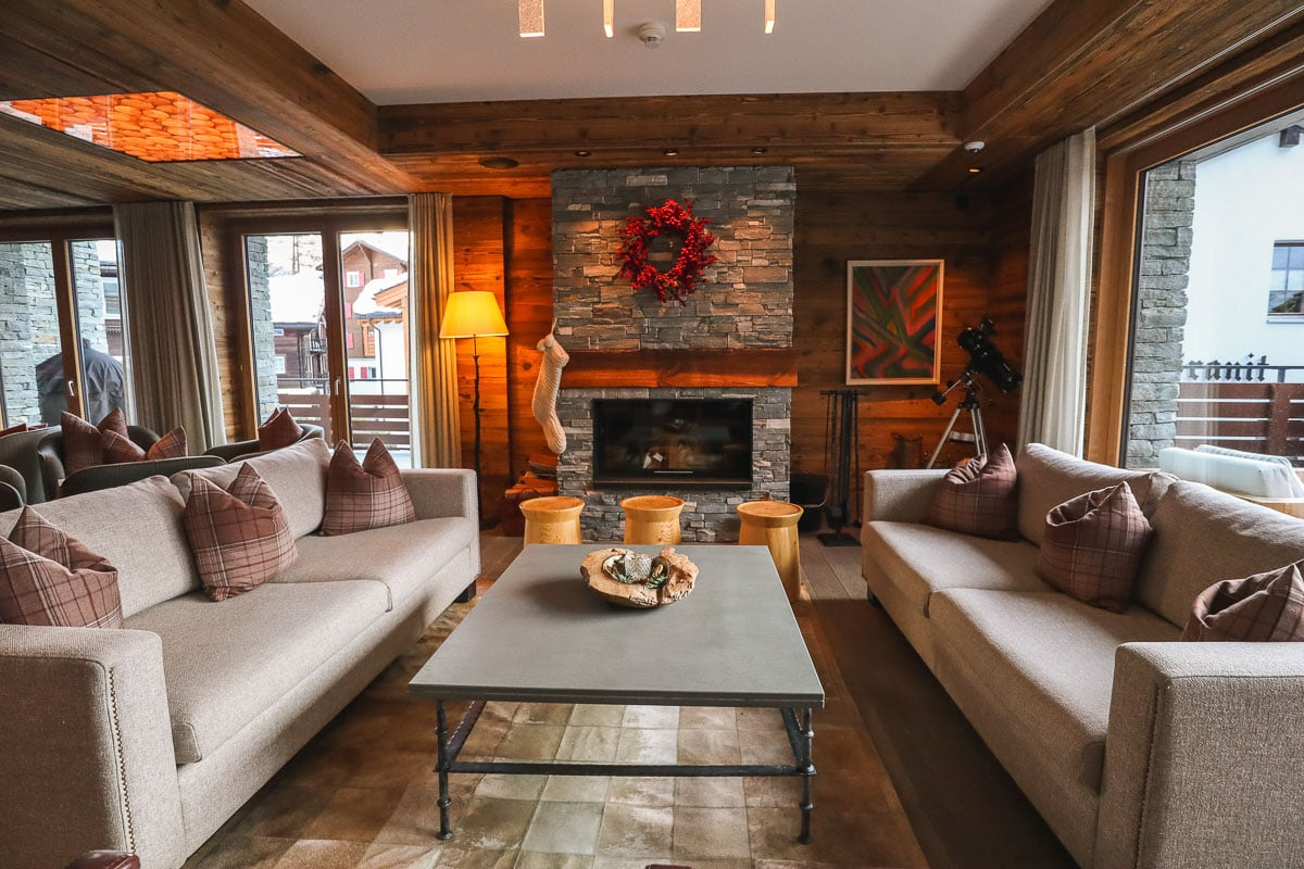 Cosy lounge at The Capra, Saas-Fee