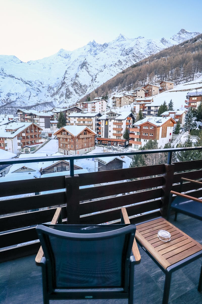 View from our balcony at The Capra, Saas-Fee