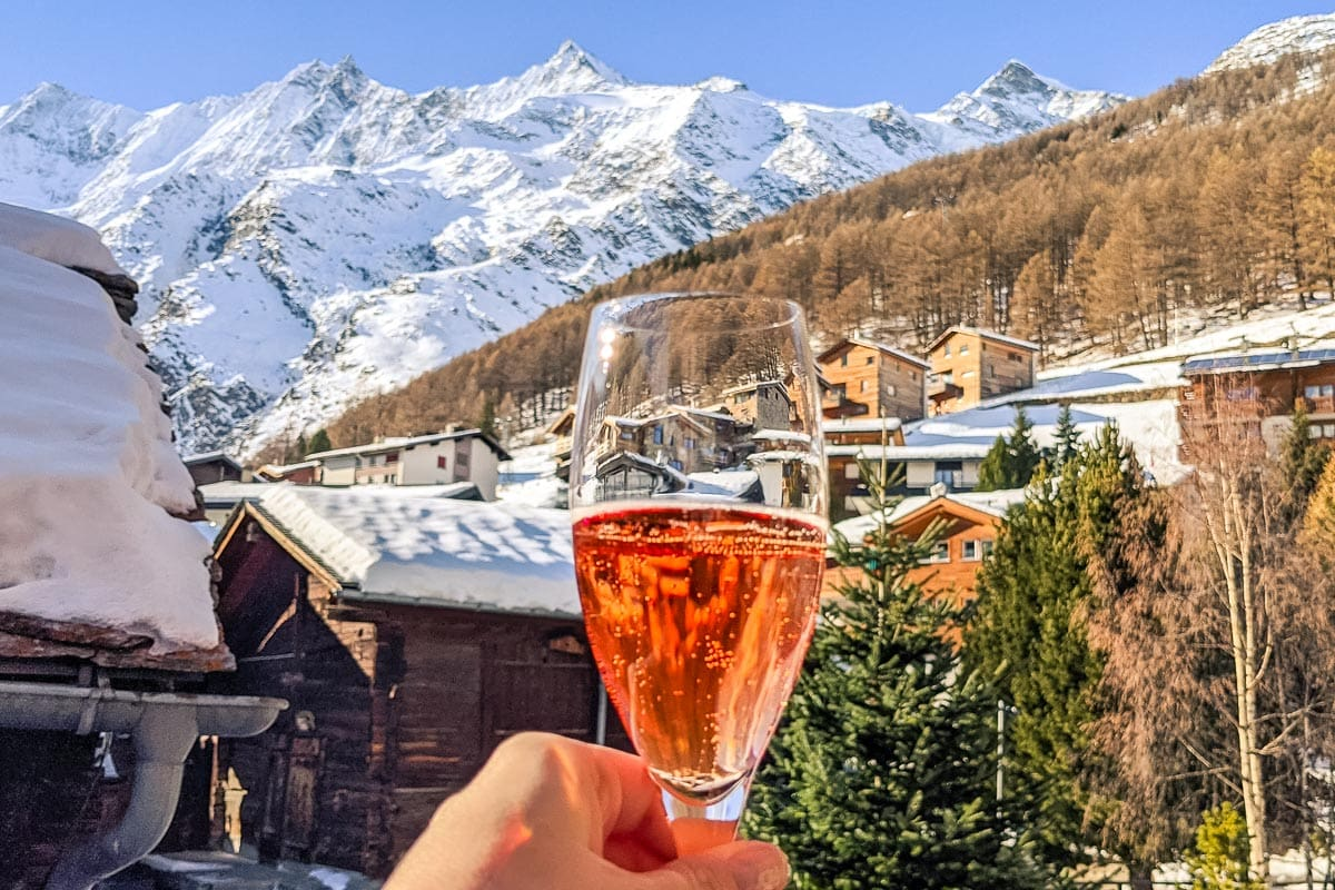 Champagne welcome at The Capra, Saas-Fee