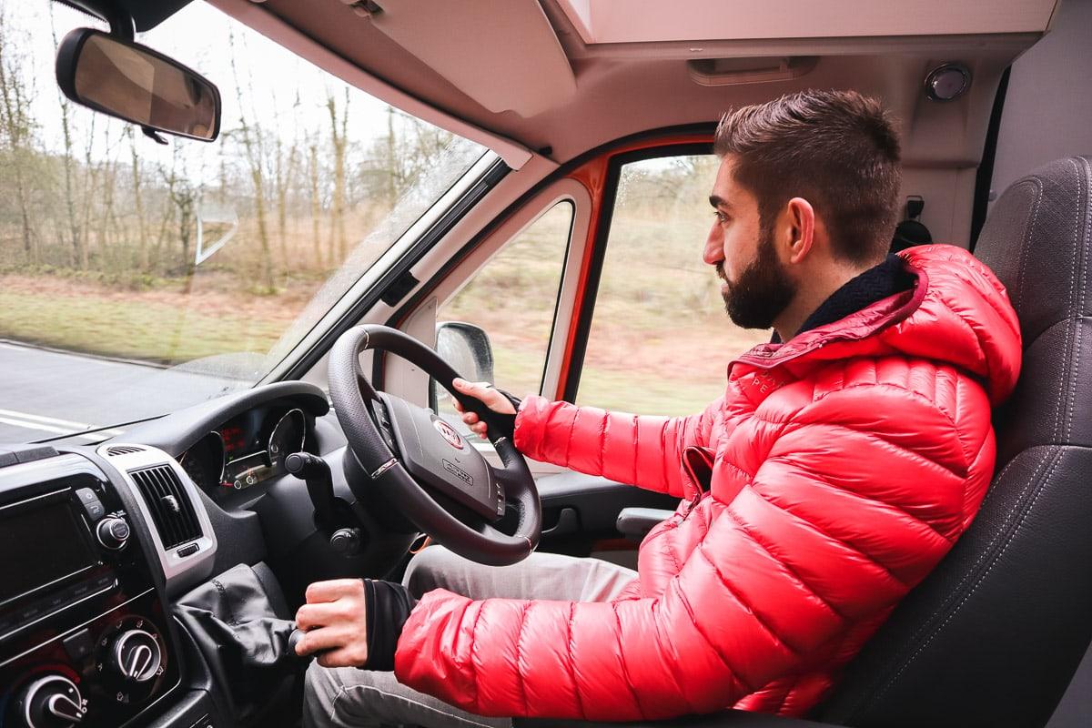 Macca driving our Adria van