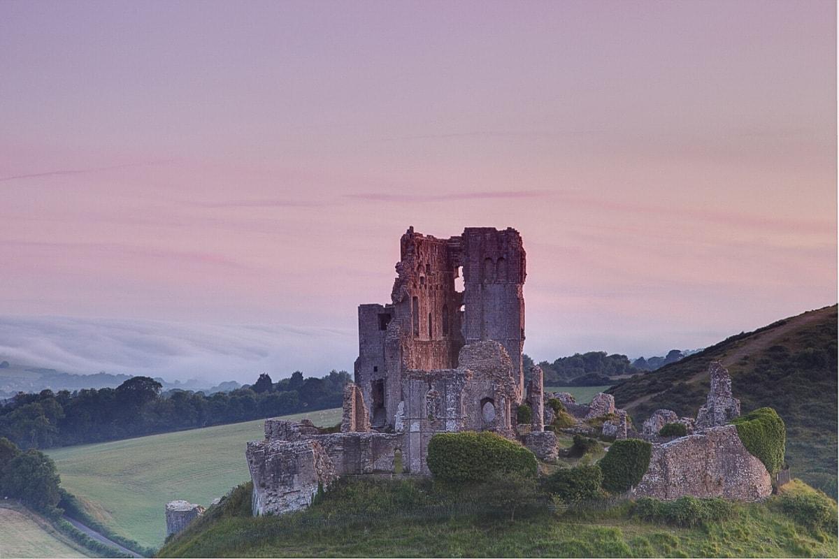 Winter sunset at Corfe Castle, Dorset