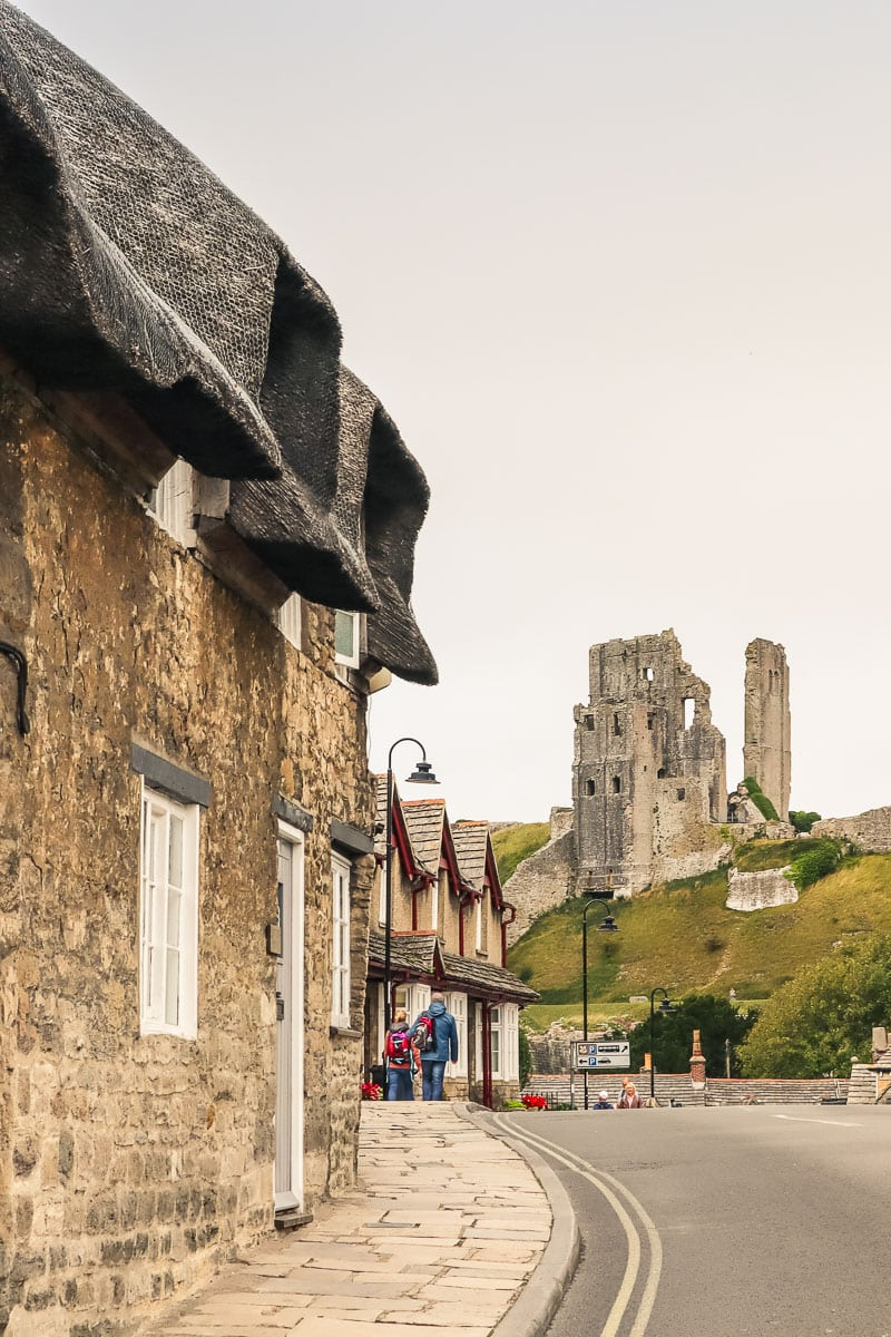 Cottages and ruins in Corfe Castle