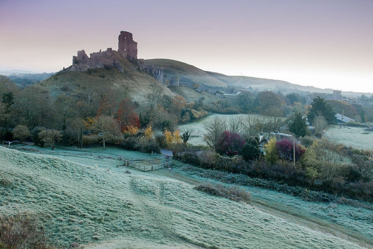 Frosty morning at Corfe Castle, Dorset