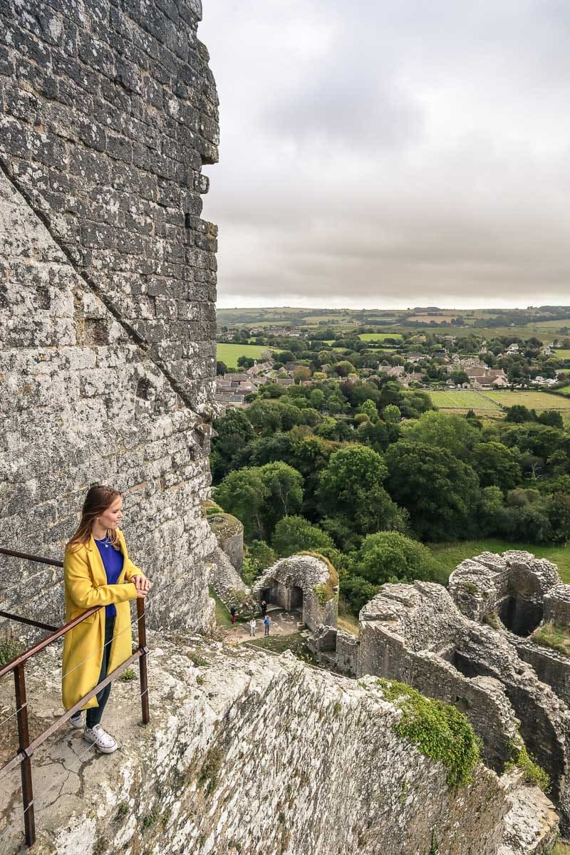 Looking out from Corfe Castle, Dorset