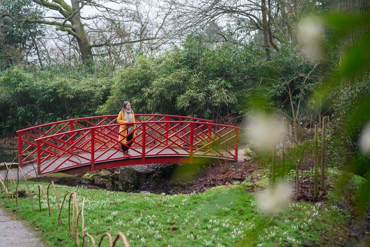 Crossing one of the Japanese bridges at Batsford Arboretum