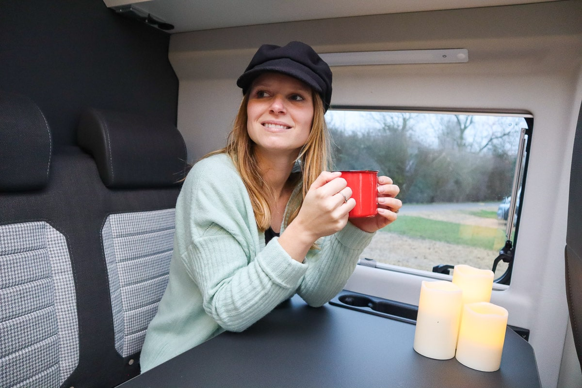 Relaxing in our Adria van