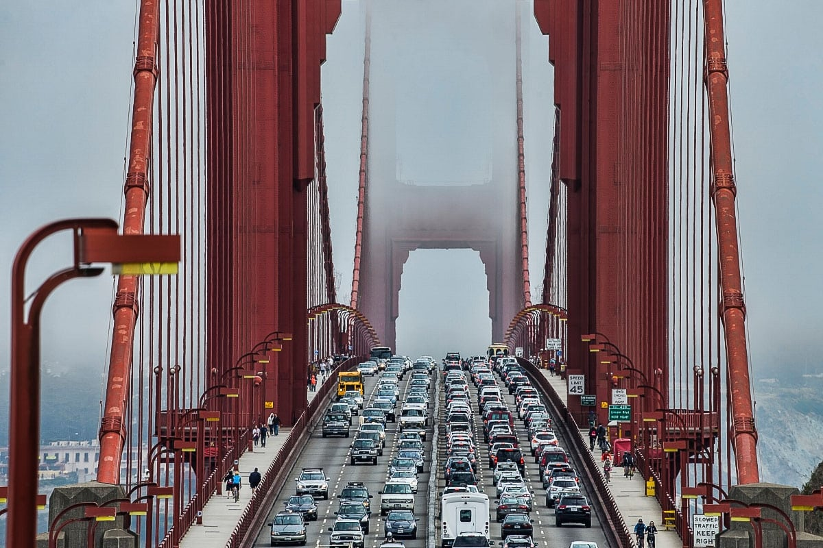 Traffic on Golden Gate Bridge, San Francisco