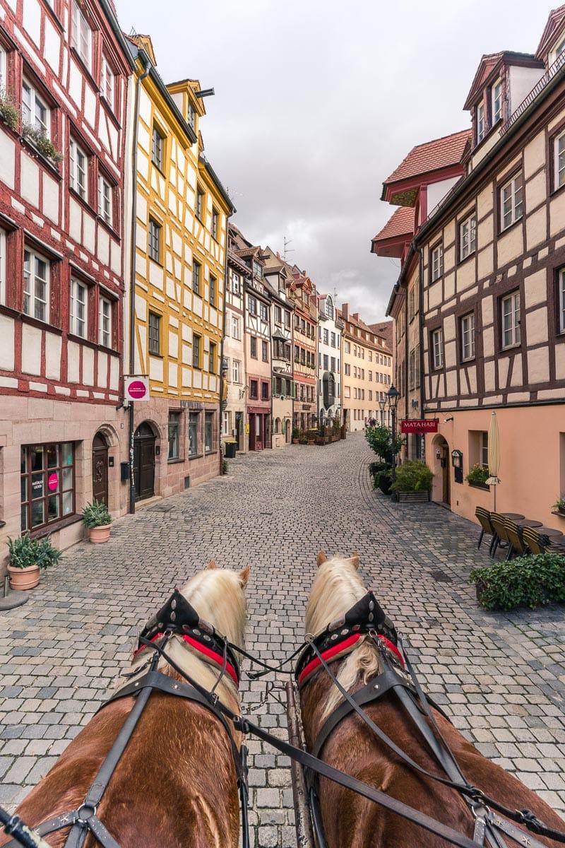 Mail coach trip down Weissgerbergasse, Nuremberg