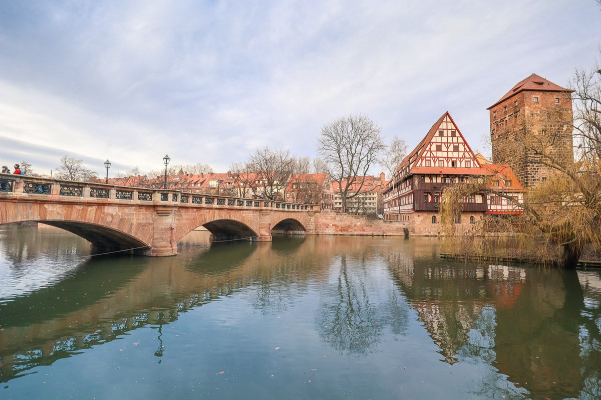 Pretty views by the river in Nuremberg