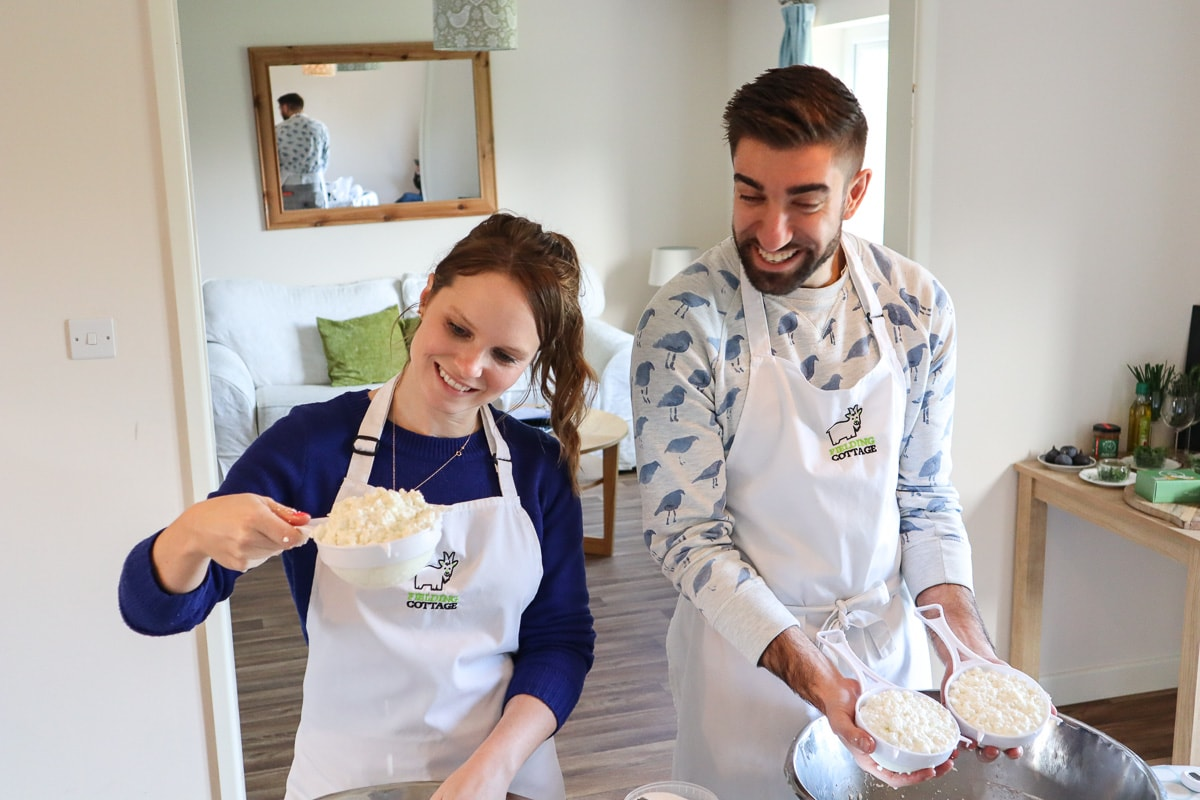 Learning to make goat's cheese at Fielding Cottage, Norfolk