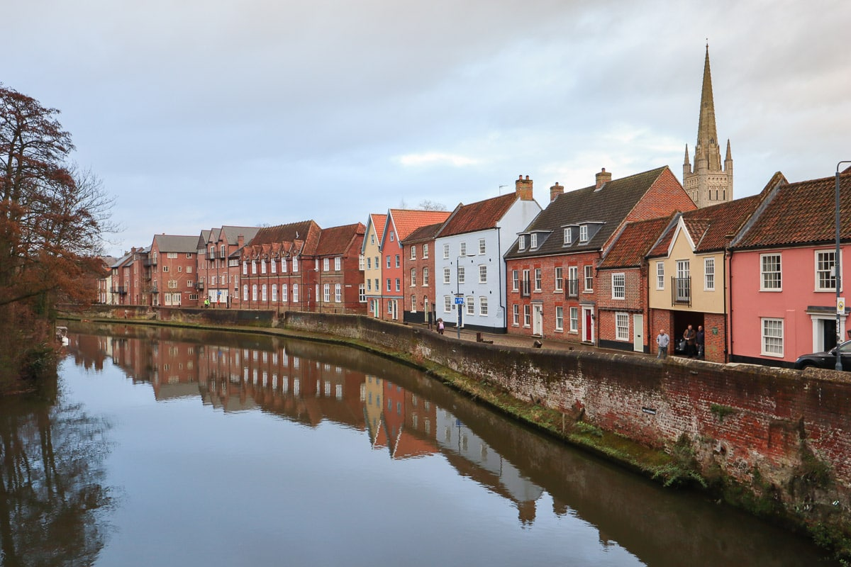 Pretty streets of Norwich lining the River Wensum