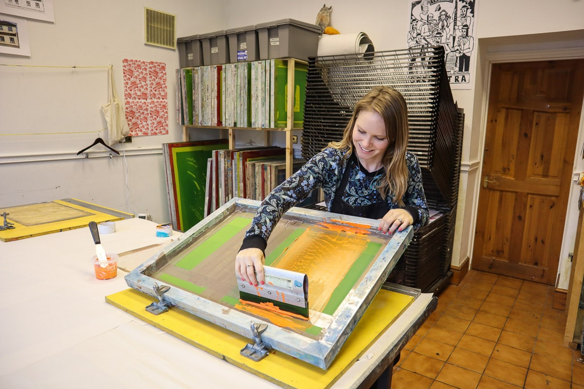 Screen printing at Print to the People in Norwich