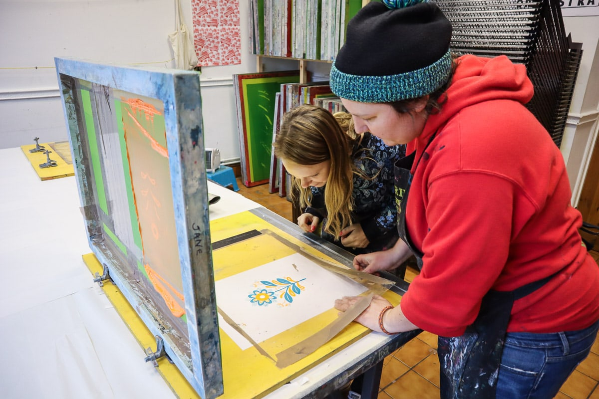 Learning about screen printing in Norwich