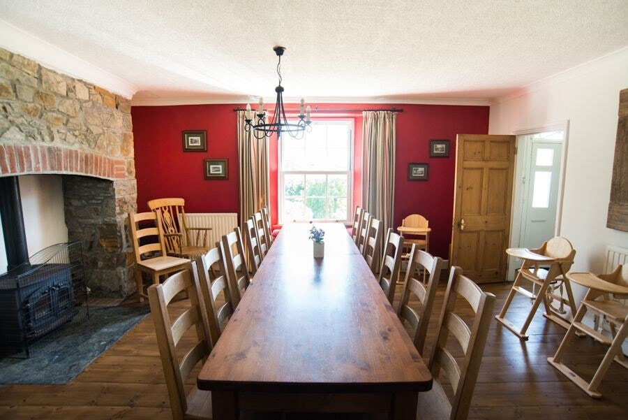 Dining area at Northcott Farmhouse, Cornwall