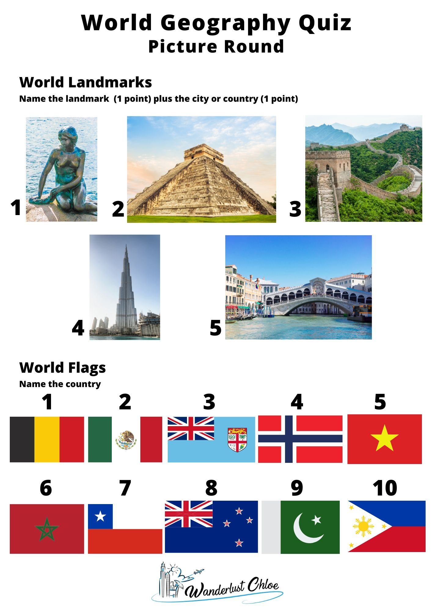 World geography quiz printable - picture round