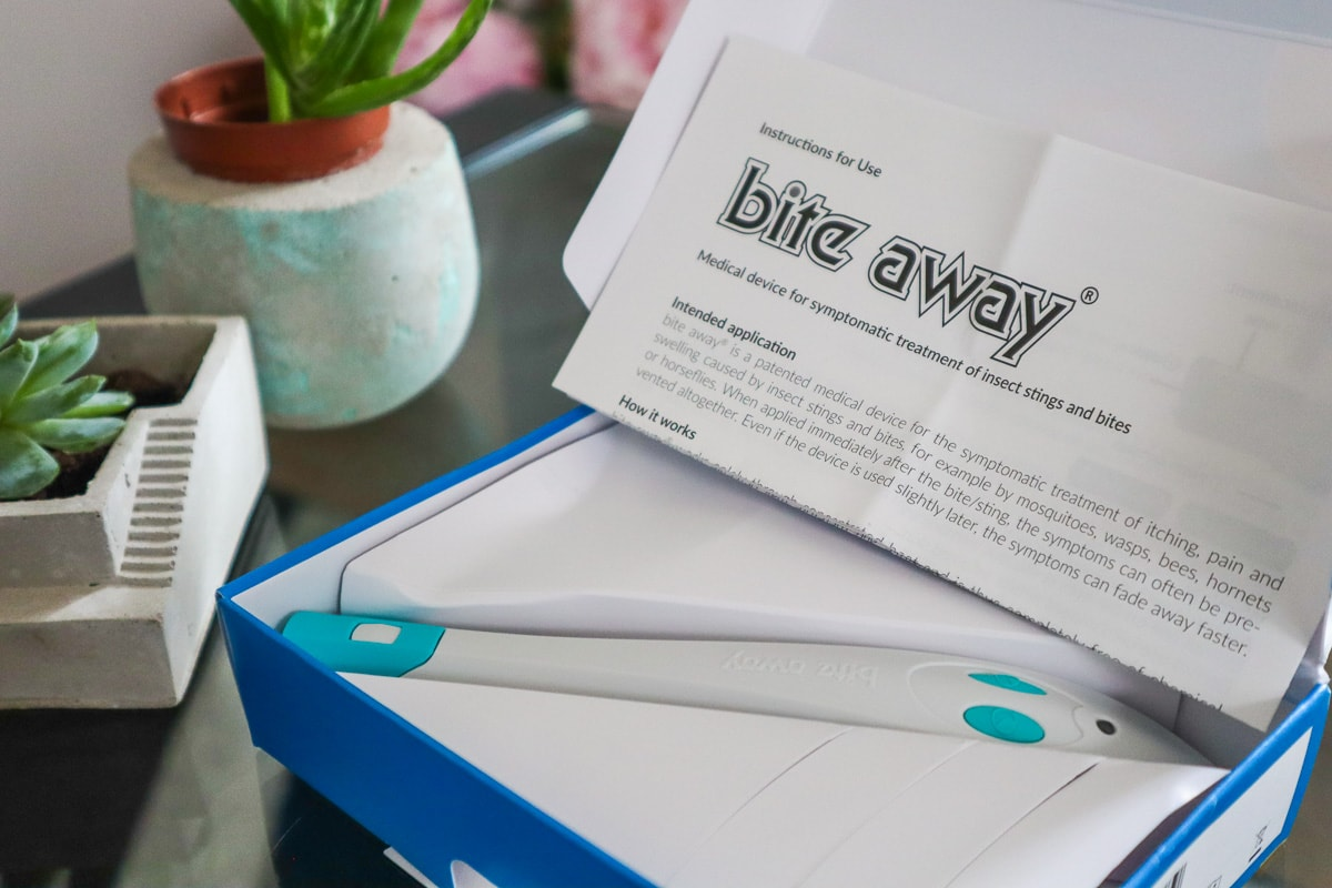 Bite Away pen in its box with instructions