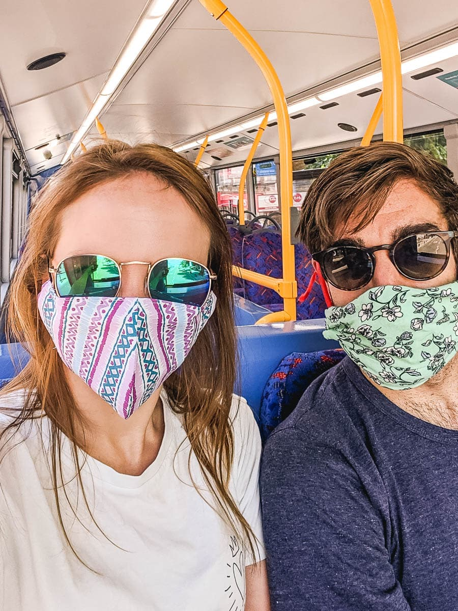 Off to a house viewing with our masks on