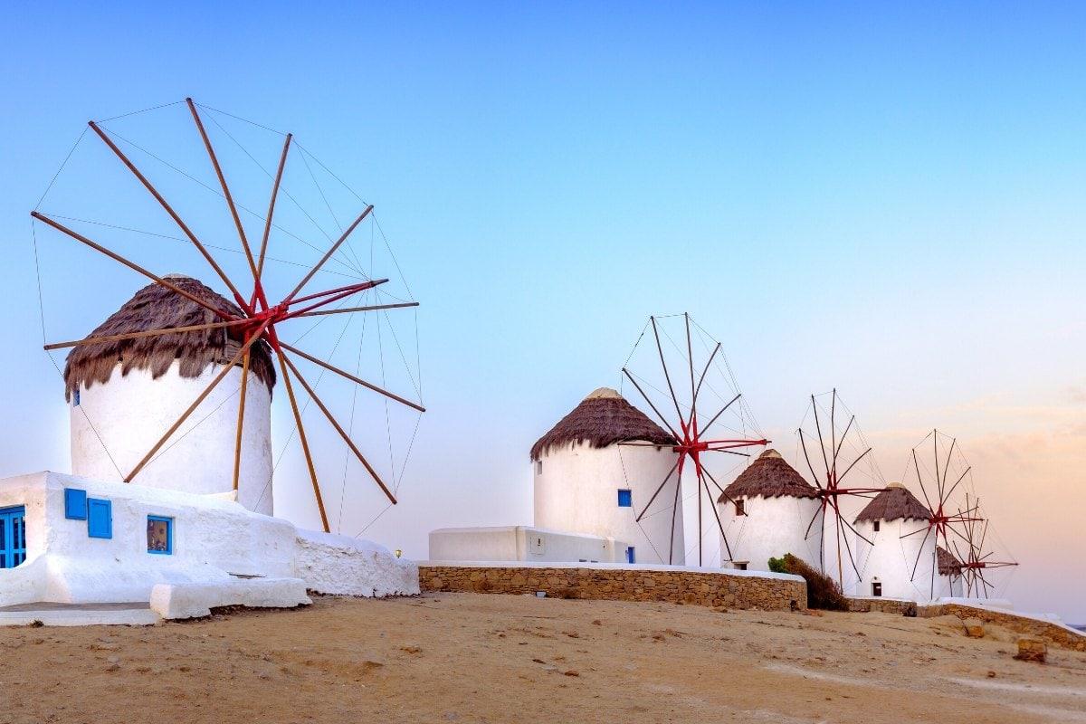 The famous windmills in Mykonos