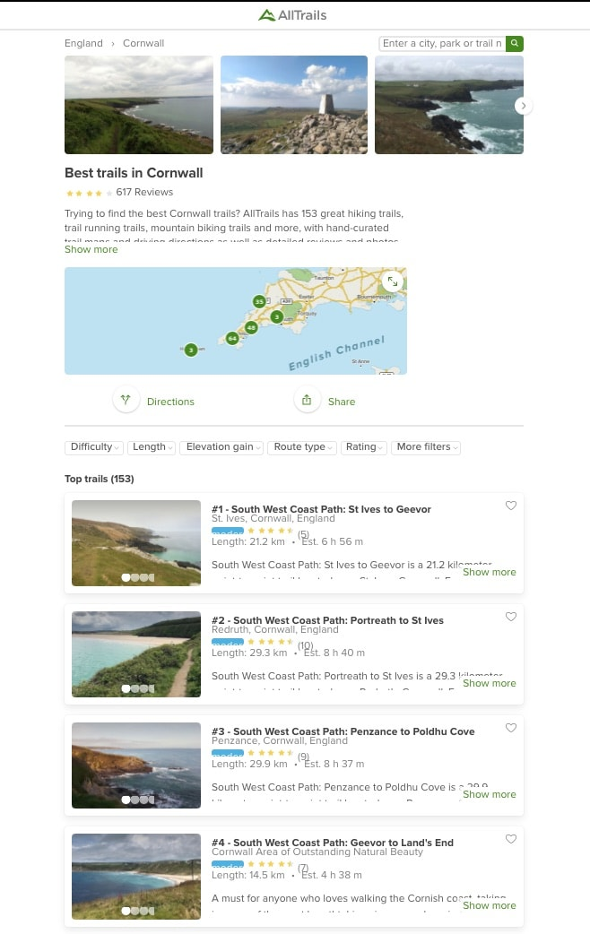 Walks in Cornwall listed on the All Trails website